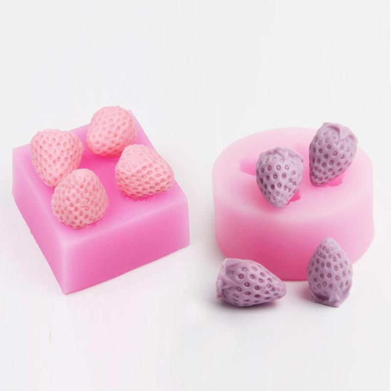 3D Fraise Silicone Moule Fruits Moule Gâteau Décoration Fondant Dollhouse Coton Bonbons Résine Argile Moule mignon h15