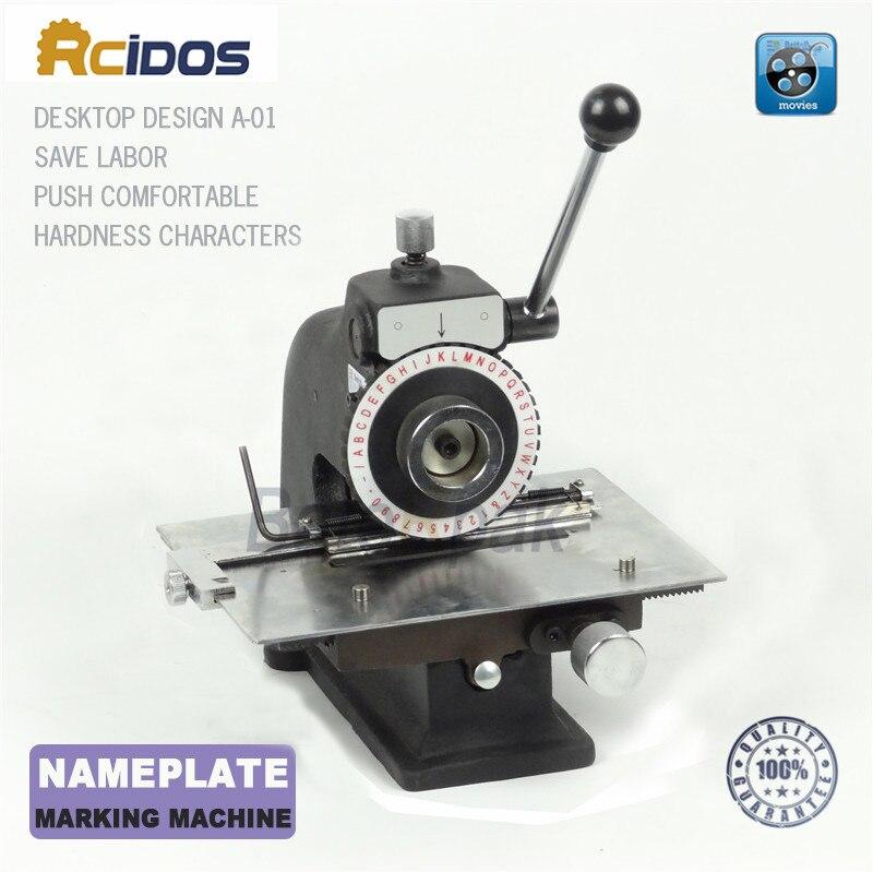 Machine de marquage de plaque signalétique manuelle de A-01, machine de codage d'étiquetage en aluminium, imprimante d'étiquettes de paramètre d'équipement (2.5/3/4/5mm en option)