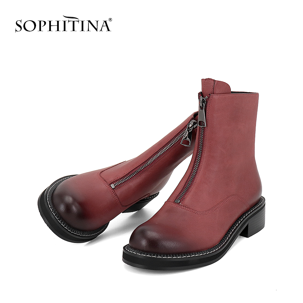 все цены на SOPHITINA Fashion Women Shoes High Quality Wine Red Cow Leather Autumn Boots Elegant Round Toe Low Heels Basic Ankle Boots BA34
