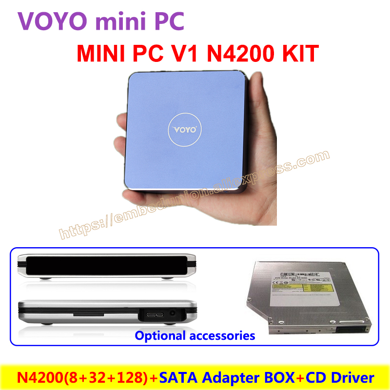 VOYO Mini PC V1 N4200 (8GB DDR3L RAM+32GB EMMC+128GB SSD) Windows 10 Pocket PC Intel with accessories