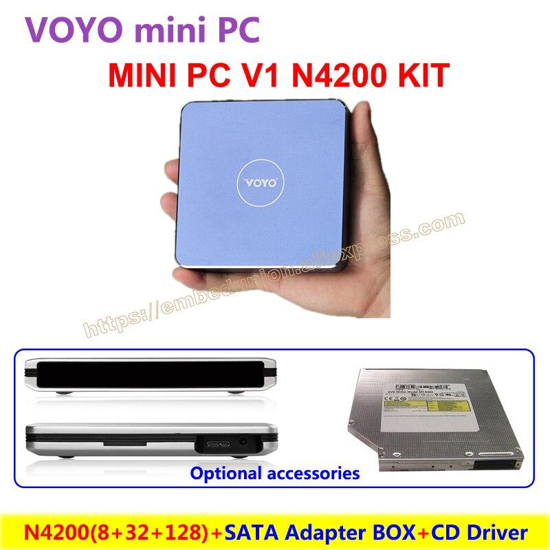 Voyo mini pc v1 n4200 (8 gb ddr3l ram + 32 gb de máster erasmus mundus + 128 gb