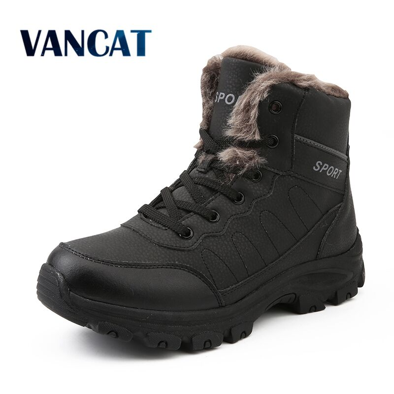 2019 Brand Leather Ankle Snow Waterproof Men Boots Winter Fur Snow Boots Plush  Warm Male Casual Boot Sneakers Outdoor Boots