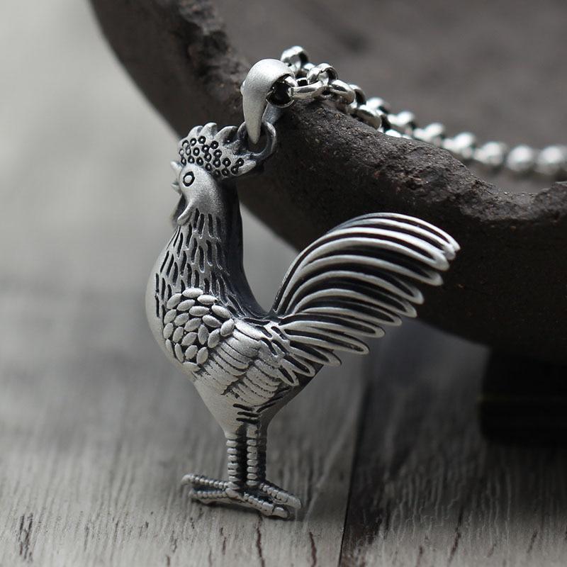 Stéréoscopique évider personnalité collier de poulet zodiaque accrocher goutte s925 pur argent bijoux pendentifs hommes et femmes