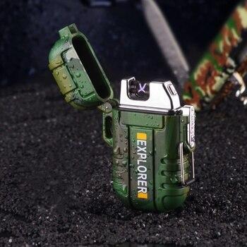 Sigaretta Impermeabile Accendisigari Dual Arc Plasma USB Più Leggero All'aperto Antivento Accendino Torcia Di Campeggio Barbecue Avviamento Di Fuoco Regali Per Gli Uomini