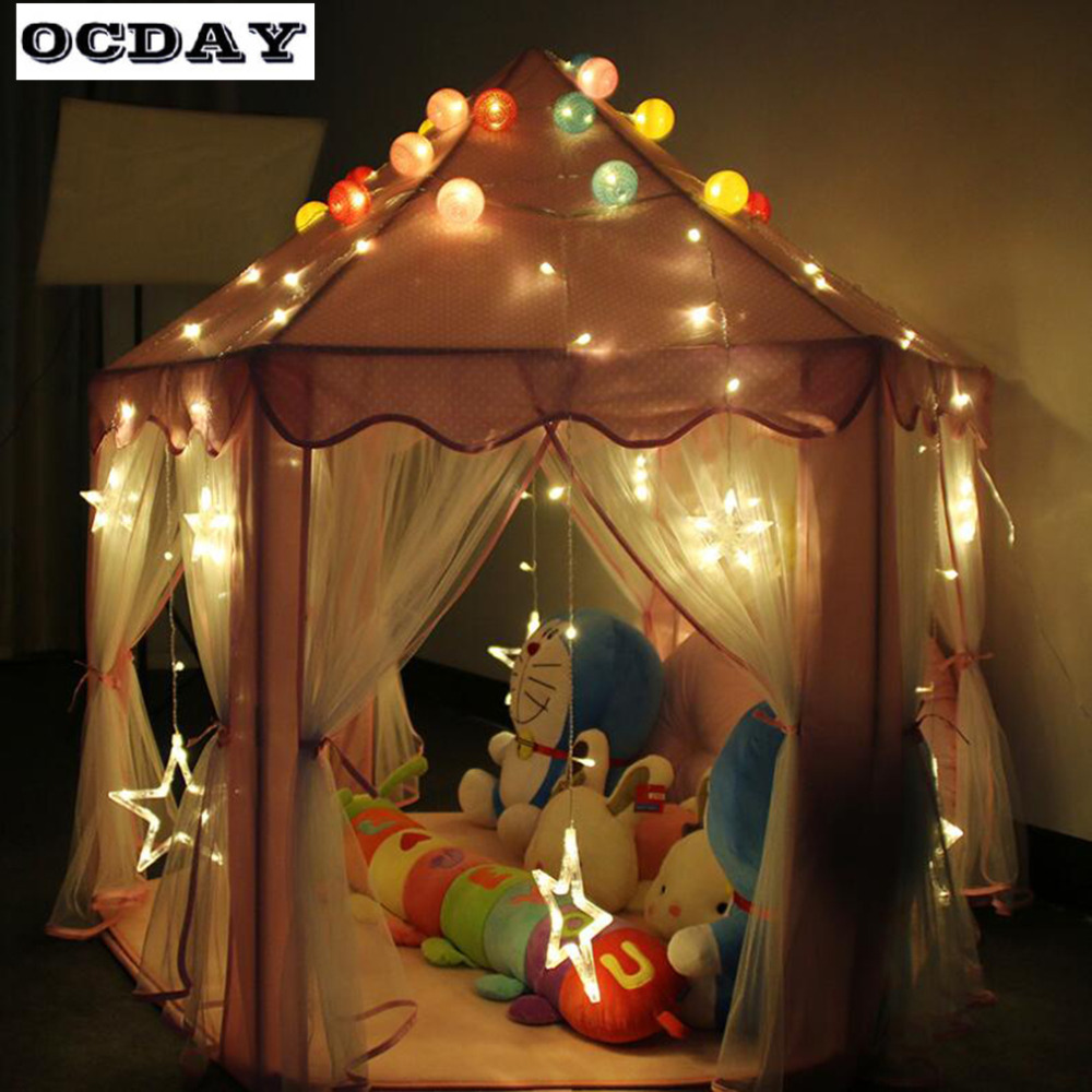 OCDAY Kids Play Tents Folding Toy Tent Pink Lovely Princess Castle Cute Playhouse Portable Play Tent Outdoor Toys For Children
