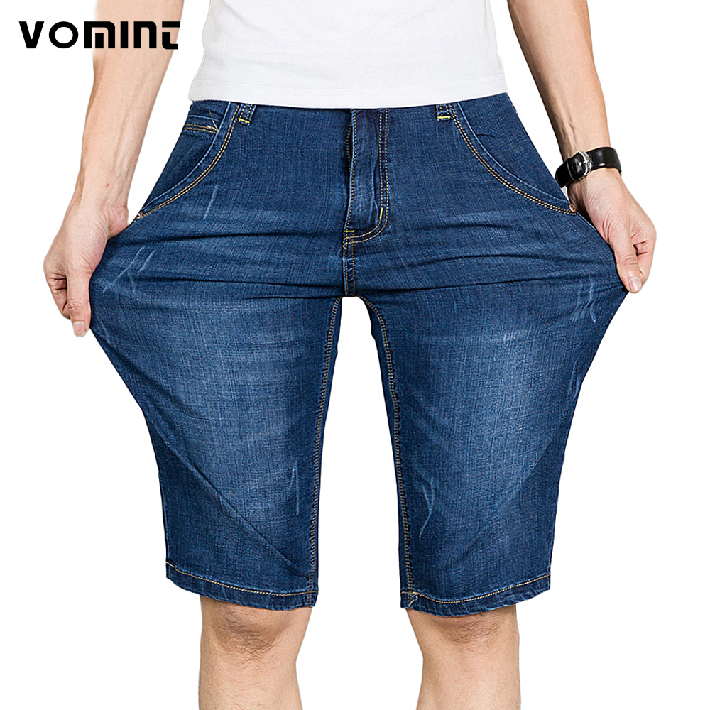 Vomint Summer Mens Casual Business Denim Shorts Slim Knee Length Short Elasticity Jeans Stretch ...