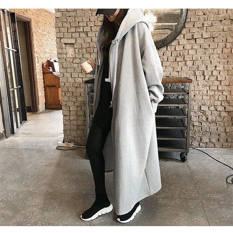 Lâche Tranchée Femmes gris Manteaux Coupe Cardigan Pardessus De épaule Occasionnel Capuchon Noir Long À Nouveau vent Hiver Manches Outwears Automne Baisse Solide fvXwSw