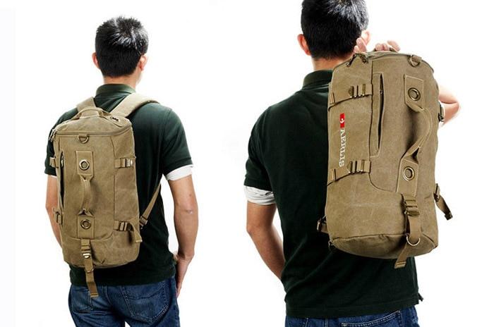 Aerlis Laptop Canvas Naprtnjače Vojni Muški Torbe na rame Muška - Ruksaci - Foto 2