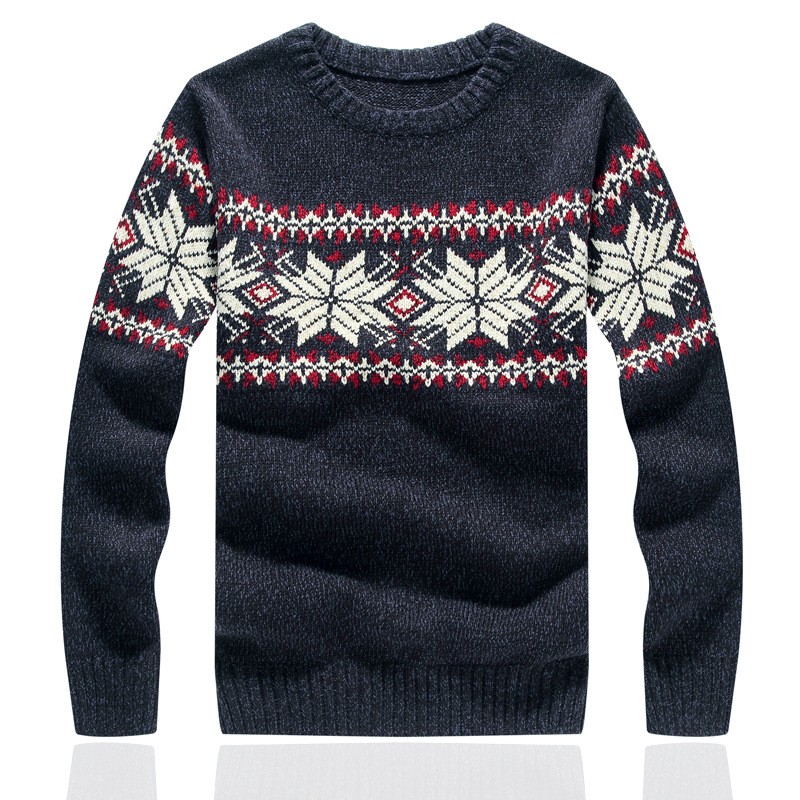 Mens Fashion Slim Thin Christmas Snowflake Sweater Men Round Neck Pullover Casual Sweaters Man Autumn Winter Cotton Jumpers ...
