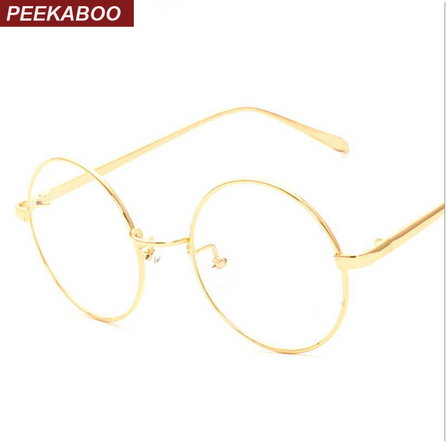 3e7286b7a73 Peekaboo NEW korean retro full rim gold eyeglass frame nerd thin METAL  PREPPY STYLE vintage spectacles round computer UNISEX