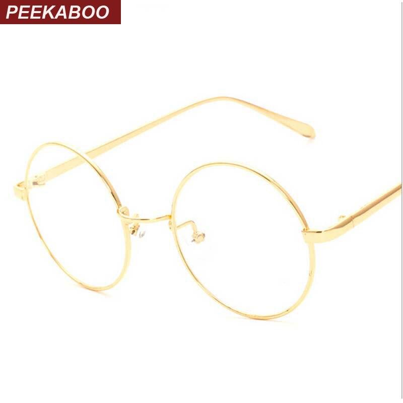 Peekaboo Nueva Corea retro completo borde oro gafas nerd marco ...