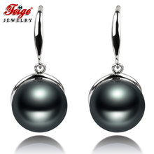 где купить Feige jewelry AAA natural Pearl Drop Earrings 11-12mm 925 Sterling Silver Purple black, Free Shipping по лучшей цене