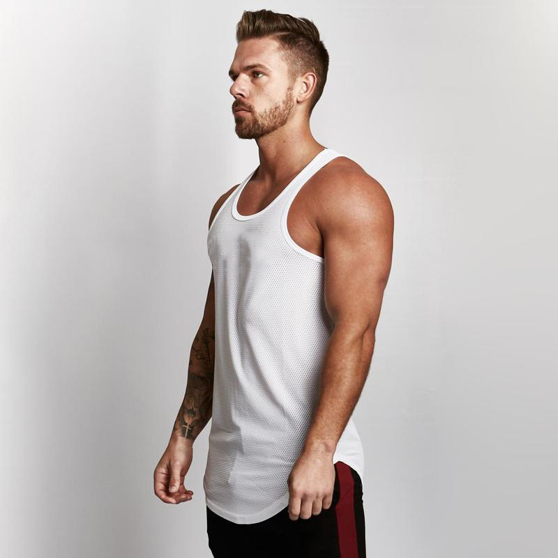 2018 Clothes Solid Mesh   Tank     Top   Men Sleeveless Shirt Bodybuilding Stringer Fitness Mens Muscle Singlet Workout Vest