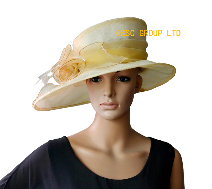Wholesale NEW 3 colours Beige Wide brim Organza Hats Church Hat Kentucky Derby  wedding women's hat.FREE SHIPPING.