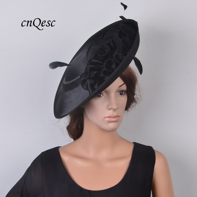 7d8b2fc7a2d62 NEW Black church hat Large saucer fascinator sinamay Royal Formal dress  Satin hat fedora for Wedding Races Party Kentucky Derby
