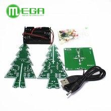 10 Bộ Ba Chiều 3D Cây Giáng Sinh LED DIY Bộ Màu Đỏ/Xanh/Vàng LED Flash Mạch Bộ điện Tử Vui Bộ Diy