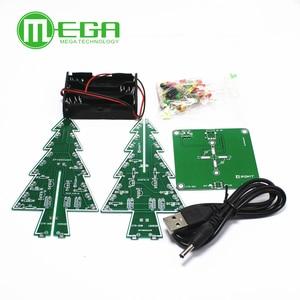 Image 1 - 10 takım üç boyutlu 3D yılbaşı ağacı LED DIY kiti kırmızı/yeşil/sarı LED flaş devre kiti elektronik eğlence paketi Diy kiti