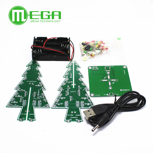 10 takım üç boyutlu 3D yılbaşı ağacı LED DIY kiti kırmızı/yeşil/sarı LED flaş devre kiti elektronik eğlence paketi Diy kiti