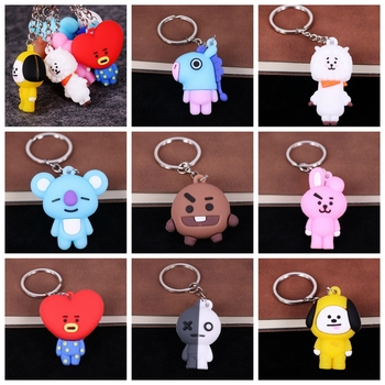 Cute 3D Cartoon Silicone Keychain PVC Kids Keychain Key Holder Car Bag Pendant Charms Fans Fashion Gift