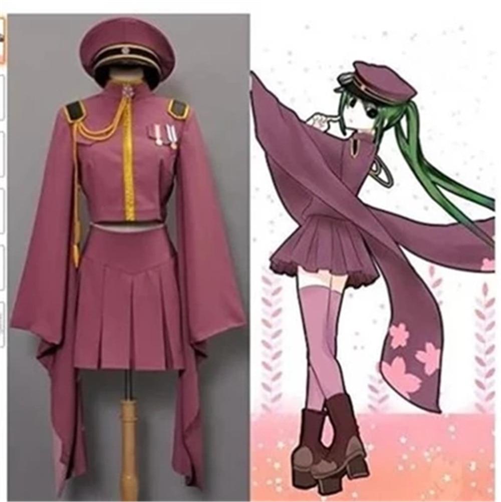 Vocaloid Hatsune Miku Senbonzakura Uniform Kimono Dress Outfit Costumes Anime Cosplay Full Length Adult Women Set Wig