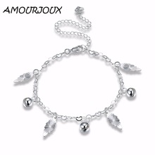 AMOURJOUX Silver Plated Cute Leaf Charm Anklets For Women Ankle Bracelet On The Leg Anklet Silver Foot Jewelry Female