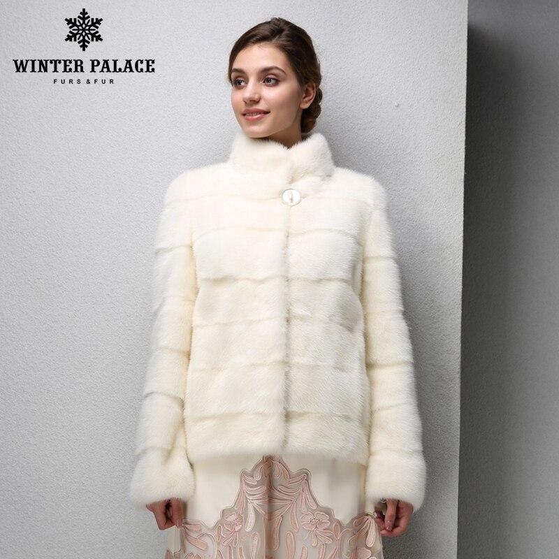 2016 Best-vente de mode manteaux de vison, Véritable En Cuir, Col Mandarin, blanc Chaud manteau de vison, jeunes femmes vison manteau de fourrure