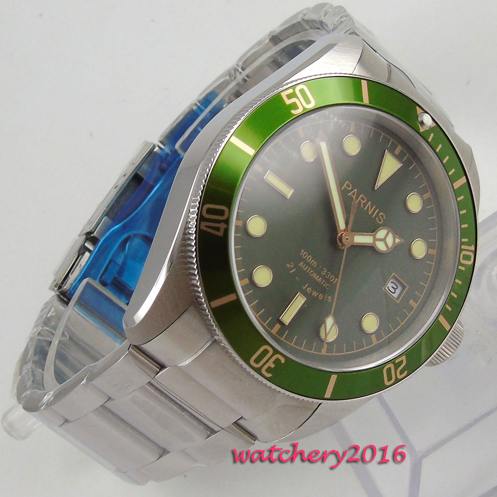 2018 New styles 41mm parnis Green dial Luminous Hands SS Band Sapphire Crystal 21 jewels miyota Automatic Mechanical men's Watch часы nixon corporal ss matte black industrial green