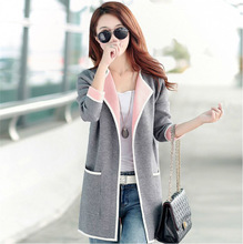 2015 women's autumn sweater outerwear all-match medium-long female long-sleeve cardigan plus size sweater