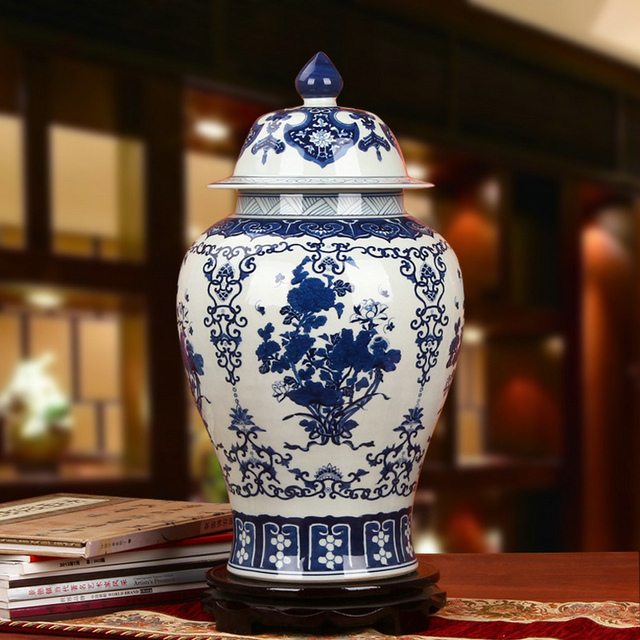 Chinese Reproduction Ceramic Ginger Jar Vase Antique Porcelain Temple Jars Home Decoration Large Blue And White