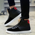 New Fashion Men Flats High Top Skate Metal Shoes British Casual Warm Walking Shoes Mans Footwear Ankle Shoes Chaussure Homme