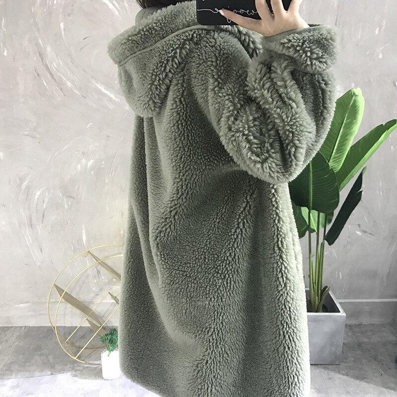 Streetwear Luxe Marque Manteau Granulés Laine 2 Femmes Long Fourrure Naturel Réel Parka Casual Capot Veste 2018 Survêtement Épais De D'hiver wfanqqTZ