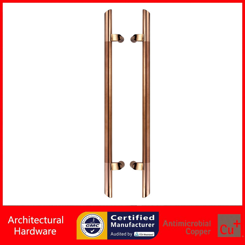 Rose Gold ColorEntrance Door Handle 304 Stainless Steel Electroplated Pull Handles For Wooden/Frame/Glass Doors PA-145-32*800mm 304 stainless steel pull handle entrance door handles for entry front store glass timber metal frame doors pa 190