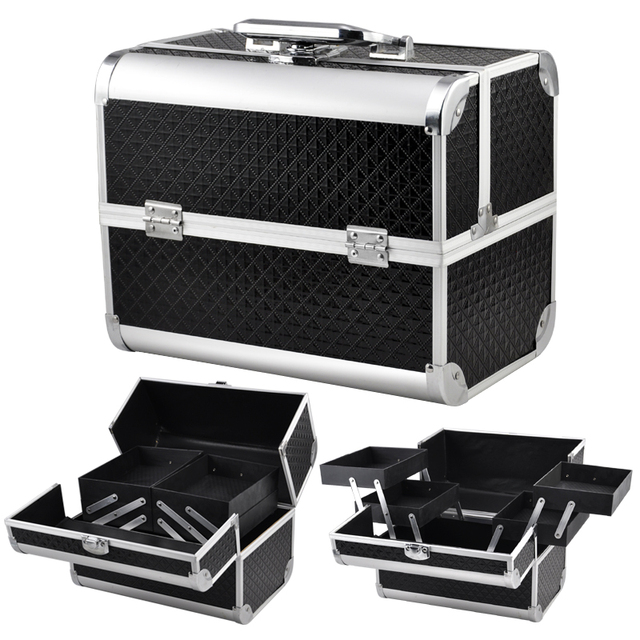 Large E Beauty Make Up Nail Tech Cosmetic Box Vanity Case Storage Black