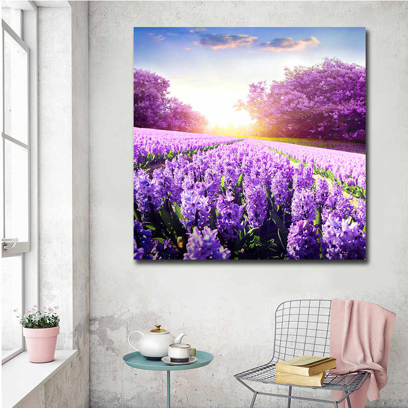 Modular Pictures Modern Canvas Unframed HD Printed 1 Piece/Pcs lavender Landscape Home Decor Living Room Wall Art Painting