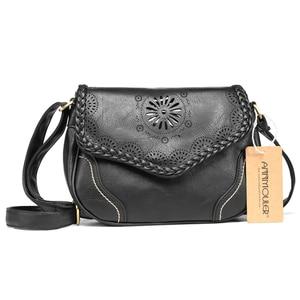 Image 3 - Annmouler Brand New Crossbody del Sacchetto Dellunità di Elaborazione Donne di Cuoio Satchel Bag Scava Fuori Il Sacchetto di Spalla Nero Vintage Borse Messenger Bag