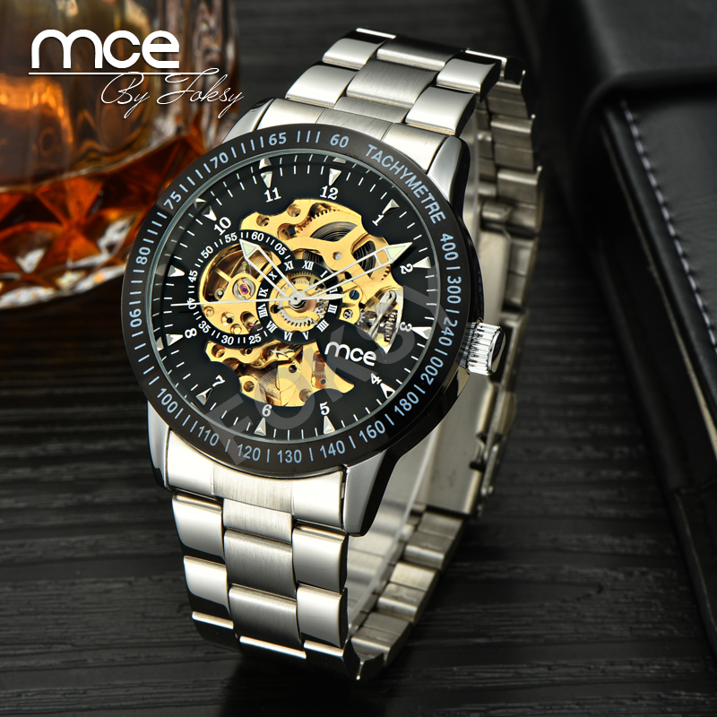 2018 new MCE brand Automatic Mechanical Watches for men fashion Black Skeleton Watch business silver stainless steel clock 206 mce men s fashion stainless steel band analog mechanical watch black silver