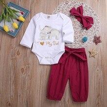 9f901f6b 3 piezas Niño niños traje de bebé carta elefante mameluco + Pantalones +  diademas conjunto recién