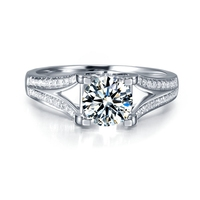 Moissanites Lab Grown Diamond Engagement Ring 3 CT DF Color Lab Diamond Accent 14k White Gold