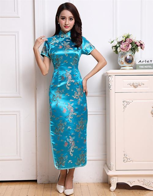 High Fashion Sexy Female Slim Above ankle Cheongsam Chinese Novelty Style Mandarin Collar Formal Qipao Drees  M L XL XXL  JY099