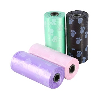 10 Rolls/150 Pcs Degradable Pet Dog Waste Poop Bag With Printing Doggy Bag Pet Waste Clean Poop Bags 4 colors
