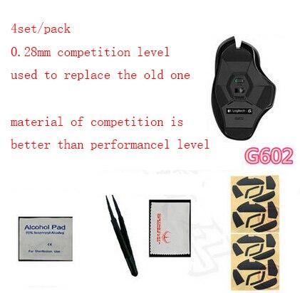 4 sets/pack 0.28mm competiton patín de nivel para Logitech G602 profesional Hotline juegos mouse pies Teflon mousepad