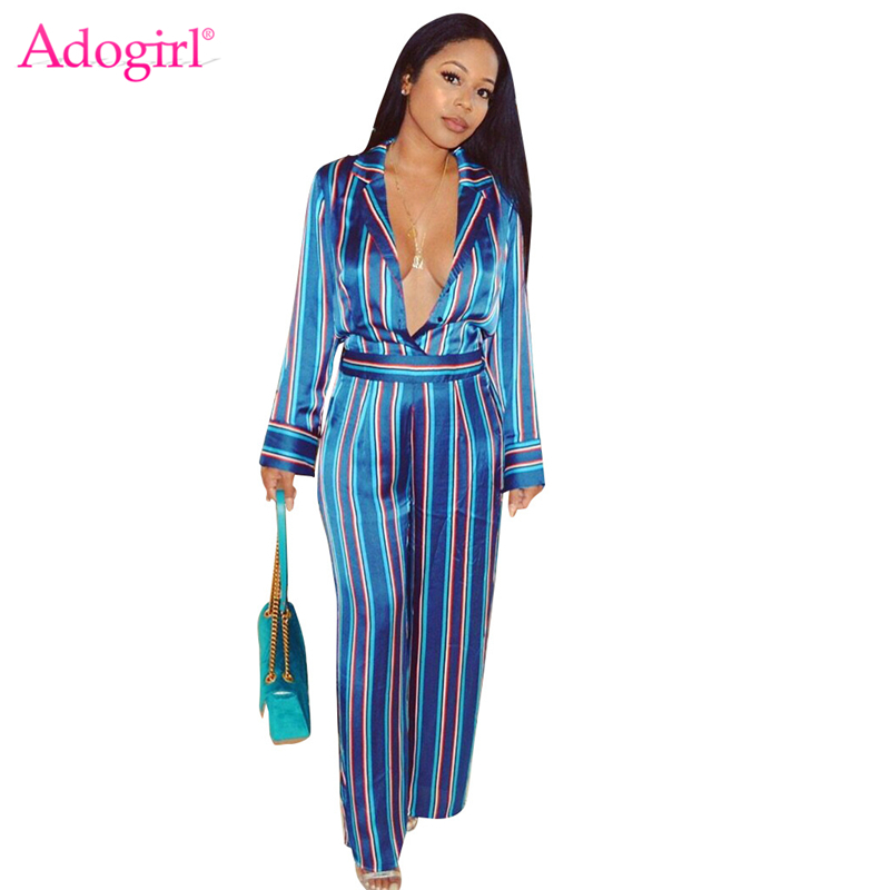 Adogirl Fashion Striped Shirt Jumpsuit Women Sexy Turn Down Collar Plunging Deep V Neck Long Sleeve Wide Leg Rompers Overalls