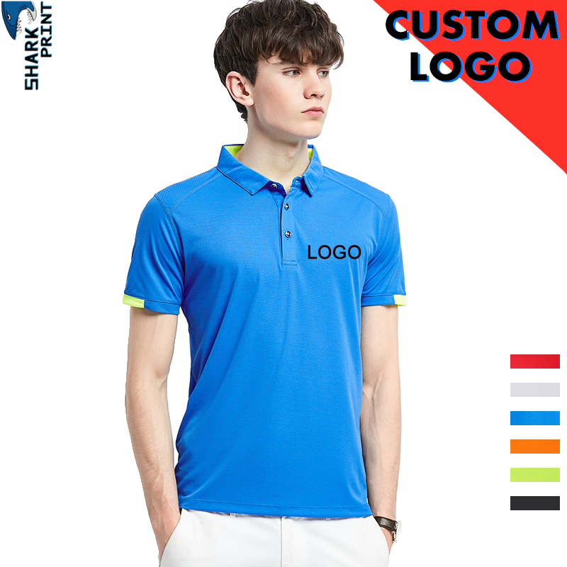 SharkPrint 2019 Polo Shirt Men Your OWN Design Logo Photo Text Picture Custom Men Printed Company Team Tops Polo Shirts Clothing