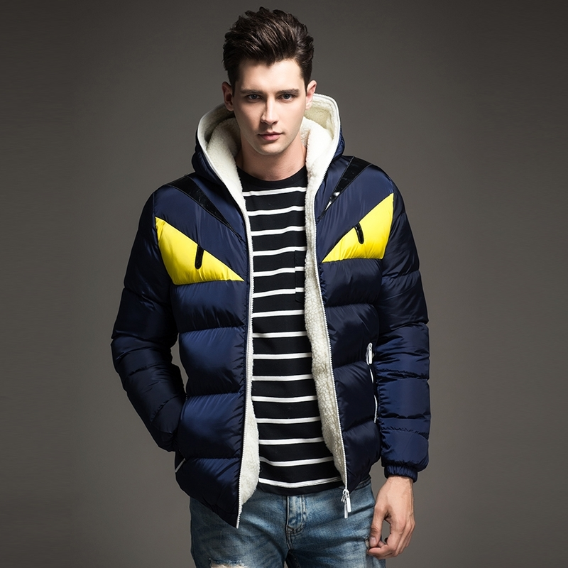 2018 New Fashion Design Men's Winter Jacket Big Eye Contrast Cotton padded Parka Puffer Hooded Coat Veste Homme Hiver - 4