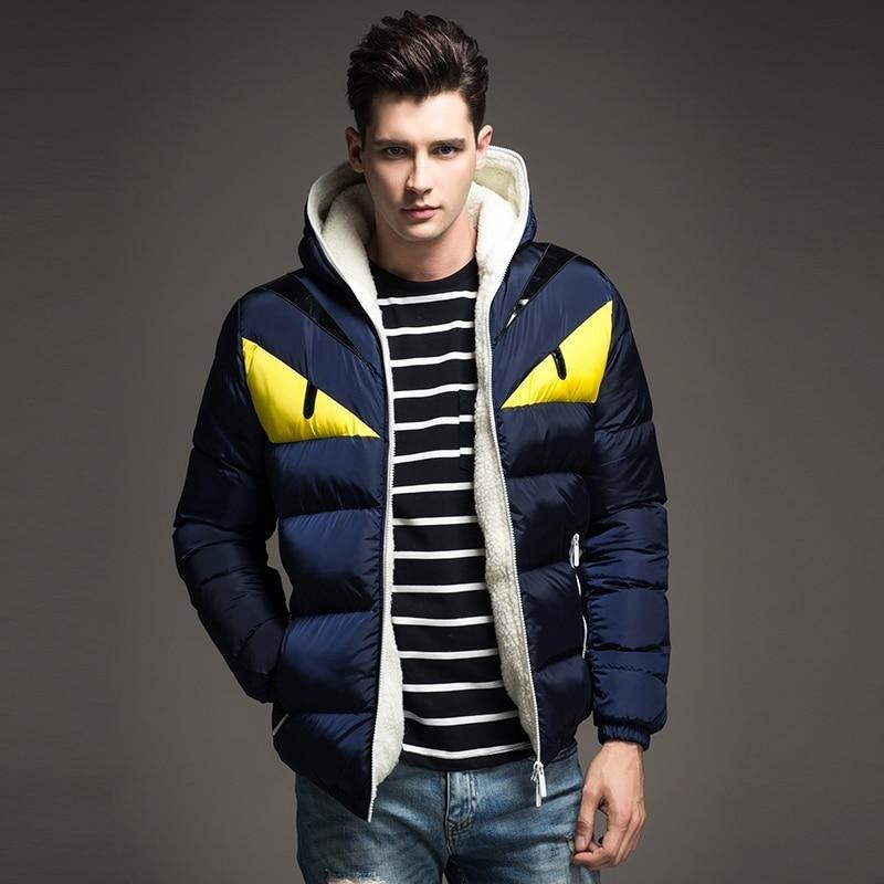 Nuevo diseño de moda 2018 chaqueta de invierno para hombre gran contraste de Ojos de algodón acolchado Parka Puffer con capucha Veste Homme Hiver - 4