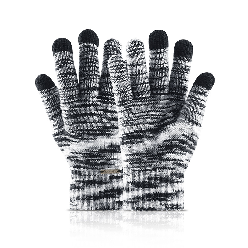 Gradient Knitting Touch Screen Gloves Men Women Warm Wool Mittens Glove New Couples Winter Velvet Thick Gloves Unisex Wholesale