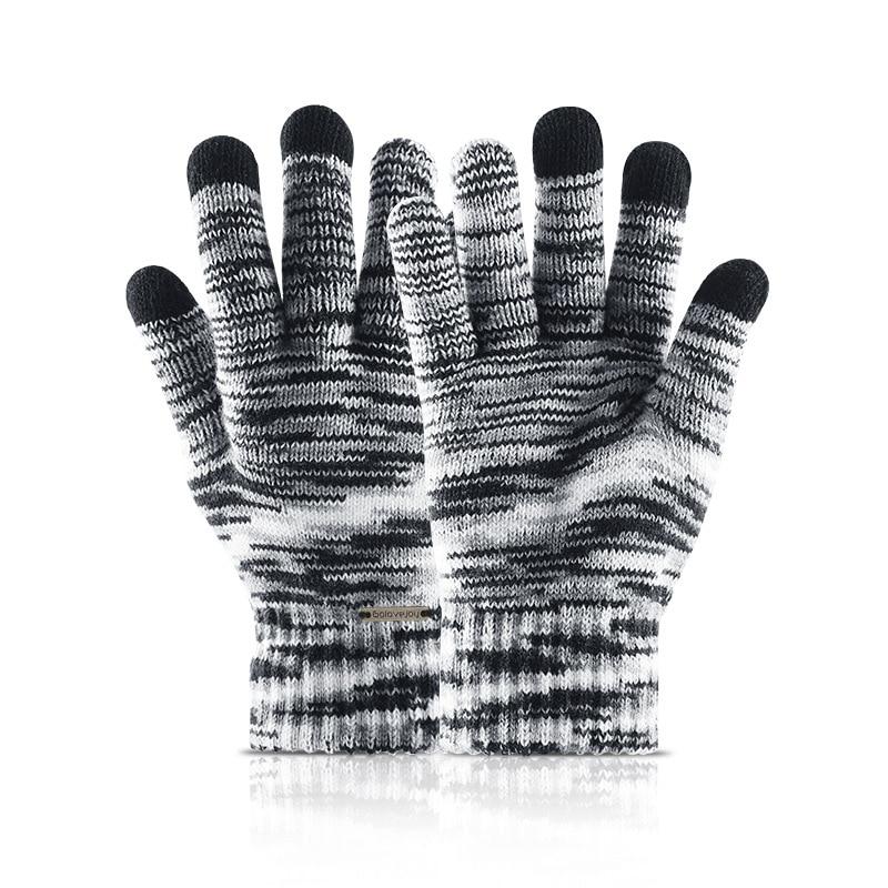 Gradient Knitting Touch Screen Gloves Men Women Warm Wool Mittens Glove New Couples Winter Velvet Thick Gloves Unisex Wholesale
