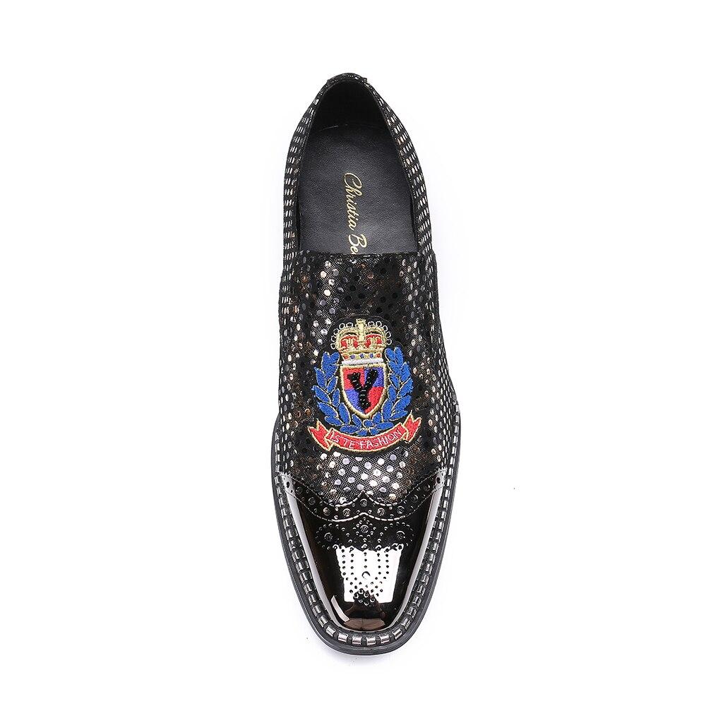 Moda Homem Designer Couro Preto Bordado Lazer Sapatos Barco Vestido Para Homens Christia Bella Oxfords Luxo De Personalizado R0FwAU