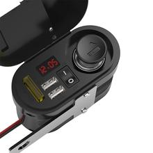 مقبس طاقة شاحن مضاد للماء للدراجة النارية 5 فولت 3.1A منفذ USB مزدوج تبديل شاشة عرض LED رقمية فولتميتر ولاعة سجائر