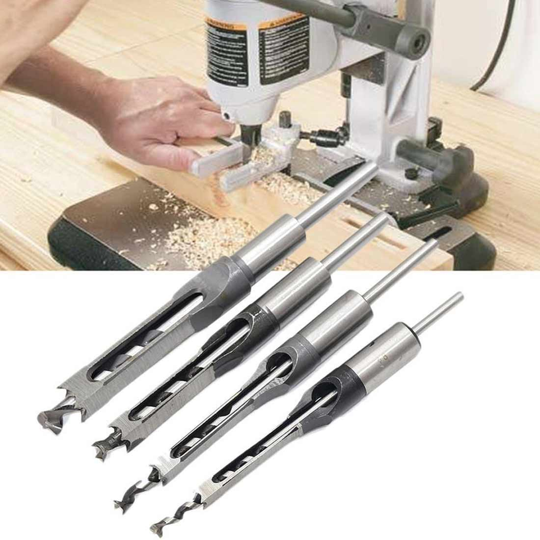 4 Pieces / Set Of Hollow Square Hole Hole Saw Chisel Spiral Drill Woodworking Tools Square Hole Drill